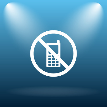 no cell phone sign: Mobile phone restricted icon. Internet button on blue background.