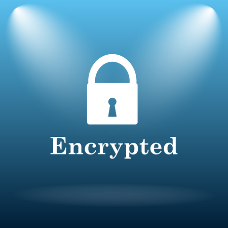 encrypted: Encrypted icon. Internet button on blue background.