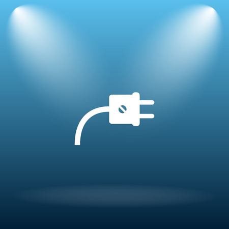 plug adapter: Plug icon. Internet button on blue background. Stock Photo