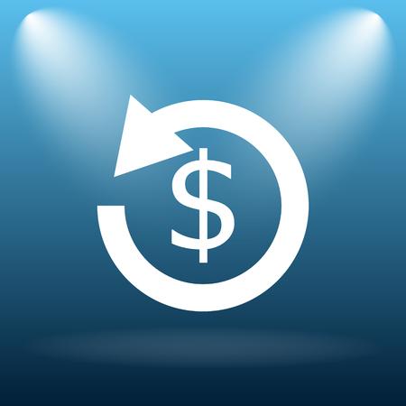 refunds: Refund icon. Internet button on blue background.