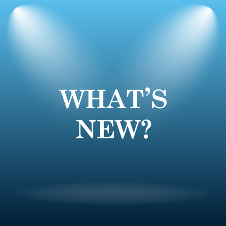 Whats new icon. Internet button on blue background.