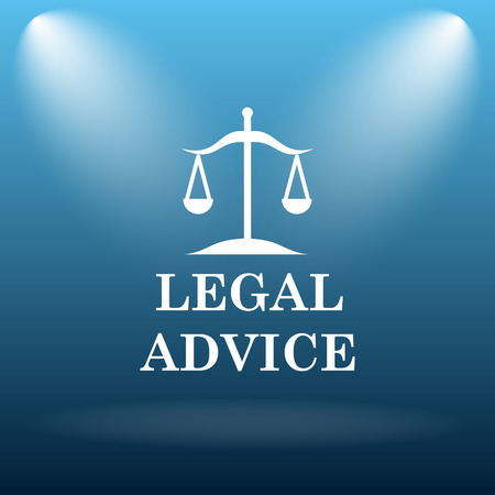 injustice: Legal advice icon. Internet button on blue background.