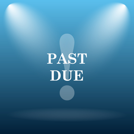 past: Past due icon. Internet button on blue background.