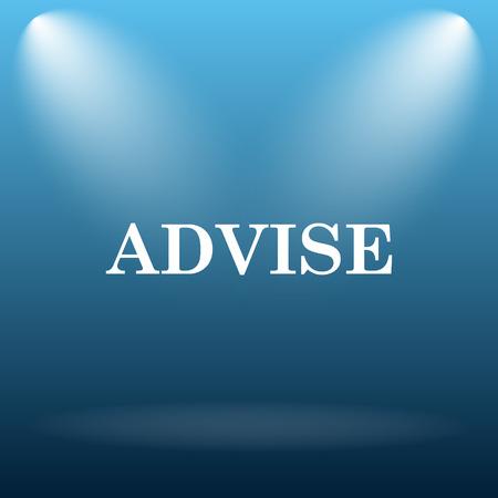 advise: Advise icon. Internet button on blue background. Stock Photo