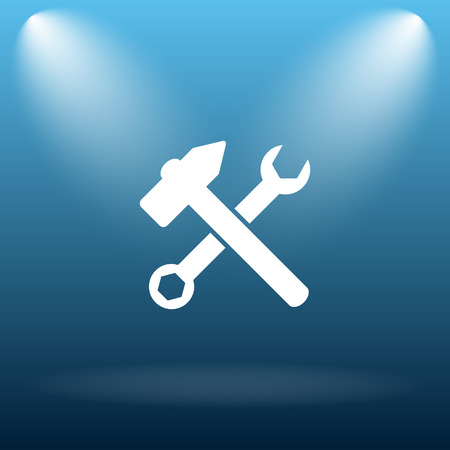 fitter: Tools  icon. Internet button on blue background.