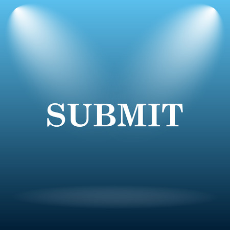 submitting: Submit icon. Internet button on blue background.