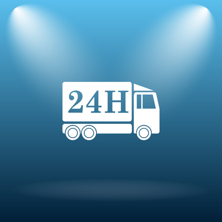 24h: 24H delivery truck icon. Internet button on blue background. Stock Photo