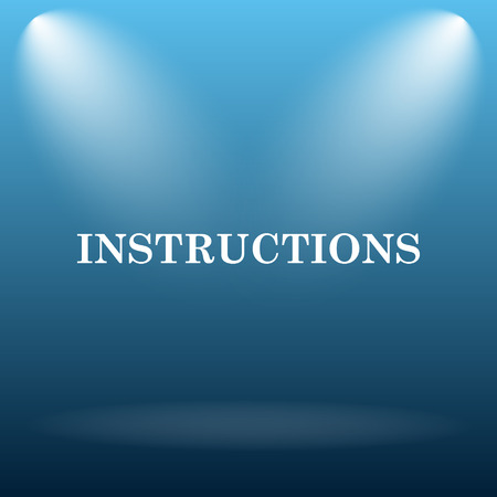 instructions: Instructions icon. Internet button on blue background. Stock Photo
