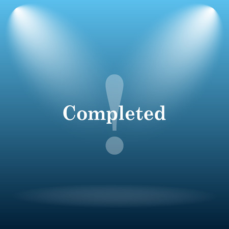 reviewed: Completed icon. Internet button on blue background. Stock Photo