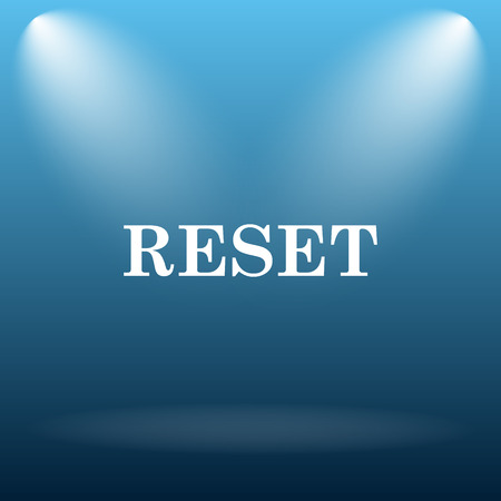 revamp: Reset icon. Internet button on blue background. Stock Photo