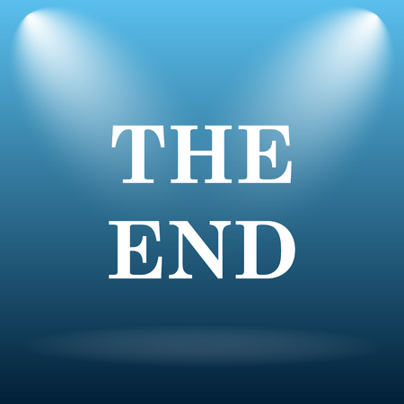 story time: The End icon. Internet button on blue background.