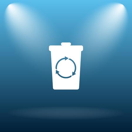 blue bin: Recycle bin icon. Internet button on blue background.