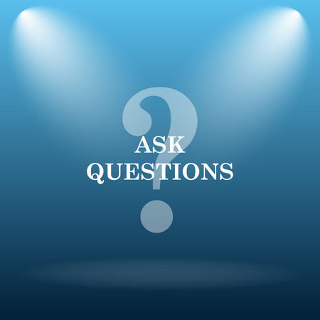 inquiry: Ask questions icon. Internet button on blue background.