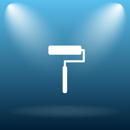 Roller icon. Internet button on blue background.