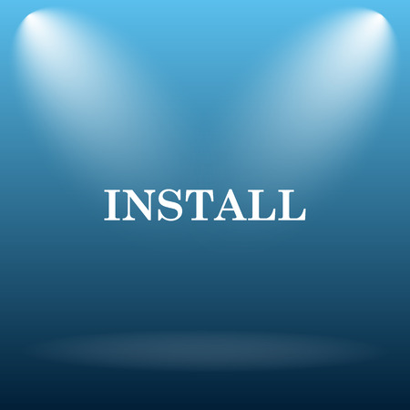 install: Install icon. Internet button on blue background.