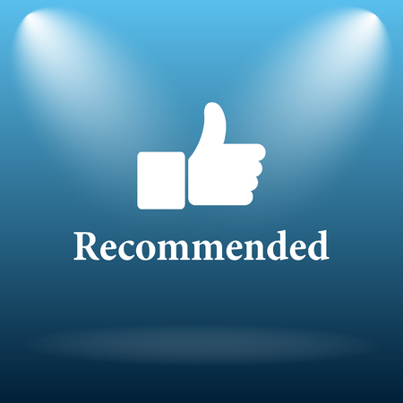 recommendations: Recommended icon. Internet button on blue background. Stock Photo