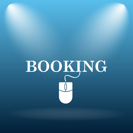 e ticket: Booking icon. Internet button on blue background.