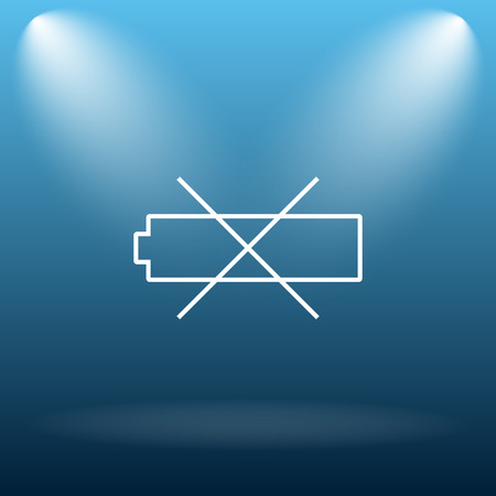 Empty battery icon. Internet button on blue background.