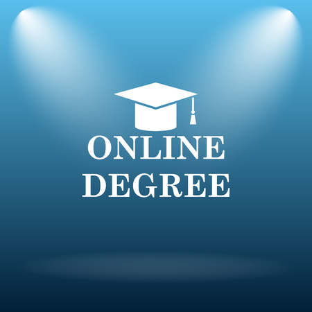 online degree: Online degree icon. Internet button on blue background. Stock Photo
