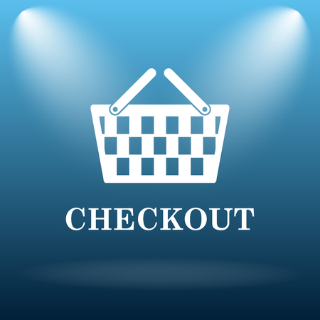 checkout: Checkout icon. Internet button on blue background. Stock Photo