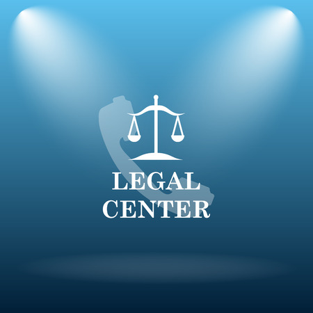 judiciary: Legal center icon. Internet button on blue background.