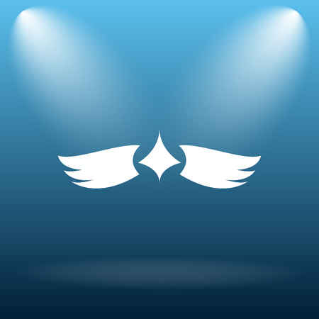 chastity: Wings icon. Internet button on blue background. Stock Photo