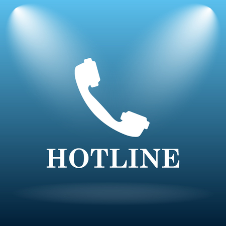 hotline: Hotline icon. Internet button on blue background. Stock Photo