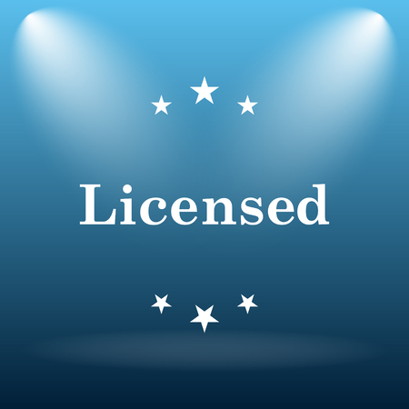 property rights: Licensed icon. Internet button on blue background. Stock Photo