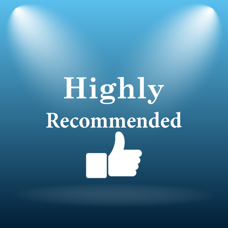 highly: Highly recommended icon. Internet button on blue background.