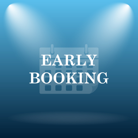 e ticket: Early booking icon. Internet button on blue background.