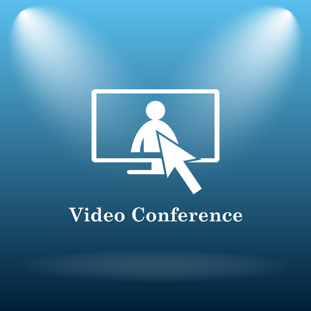 Video conference, online meeting icon. Internet button on blue background. Stock Photo
