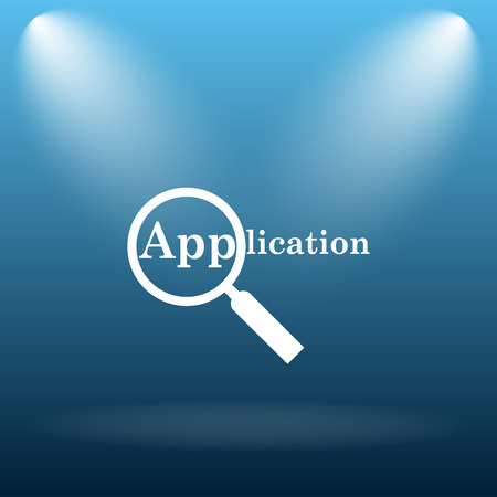 requisition: Application icon. Internet button on blue background.