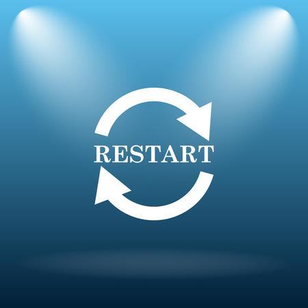 restart: Restart icon. Internet button on blue background. Stock Photo