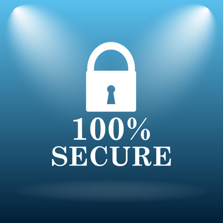 trusty: 100 percent secure icon. Internet button on blue background.