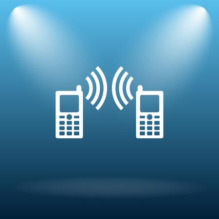 palmtop: Communication icon. Internet button on blue background.