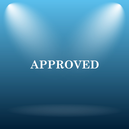 approved icon: Approved icon. Internet button on blue background.
