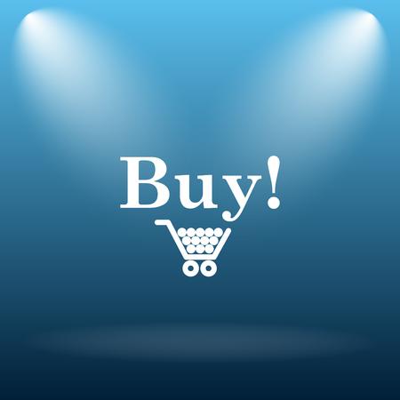 buy icon: Buy icon. Internet button on blue background. Stock Photo