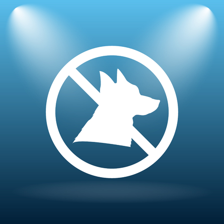 refused: Forbidden dogs icon. Internet button on blue background.