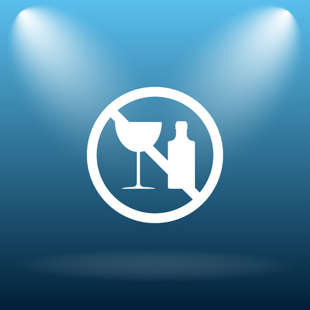 no alcohol: No alcohol icon. Internet button on blue background. Stock Photo