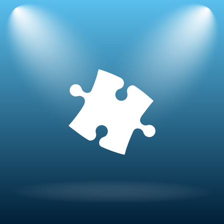 piece: Puzzle piece icon. Internet button on blue background.