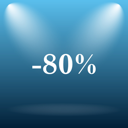 80: 80 percent discount icon. Internet button on blue background.