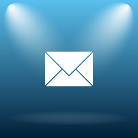 information icon: E-mail icon. Internet button on blue background. Stock Photo