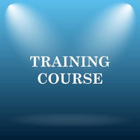 training course: Training course icon. Internet button on blue background.