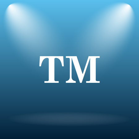 trade mark: Trade mark icon. Internet button on blue background.