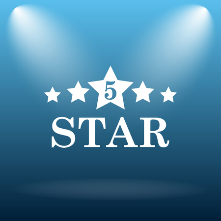emboss: 5 star icon. Internet button on blue background.