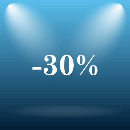 30: 30 percent discount icon. Internet button on blue background.