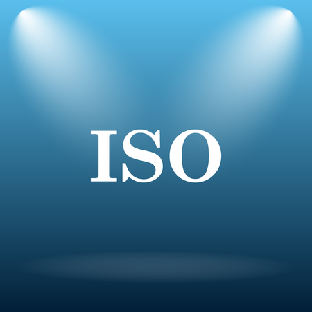 norm: ISO icon. Internet button on blue background.