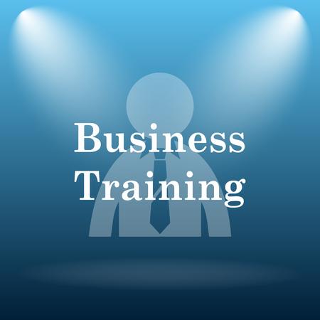 idea hurdle: Business training icon. Internet button on blue background.
