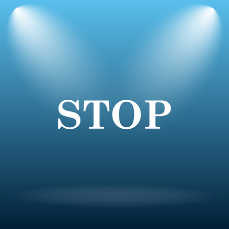 run off: Stop icon. Internet button on blue background. Stock Photo