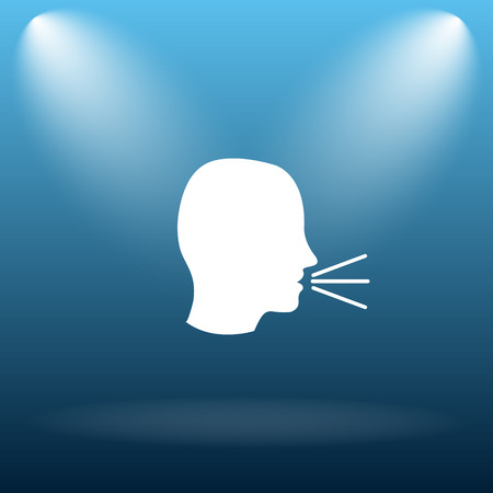 loudly: Talking icon. Internet button on blue background. Stock Photo